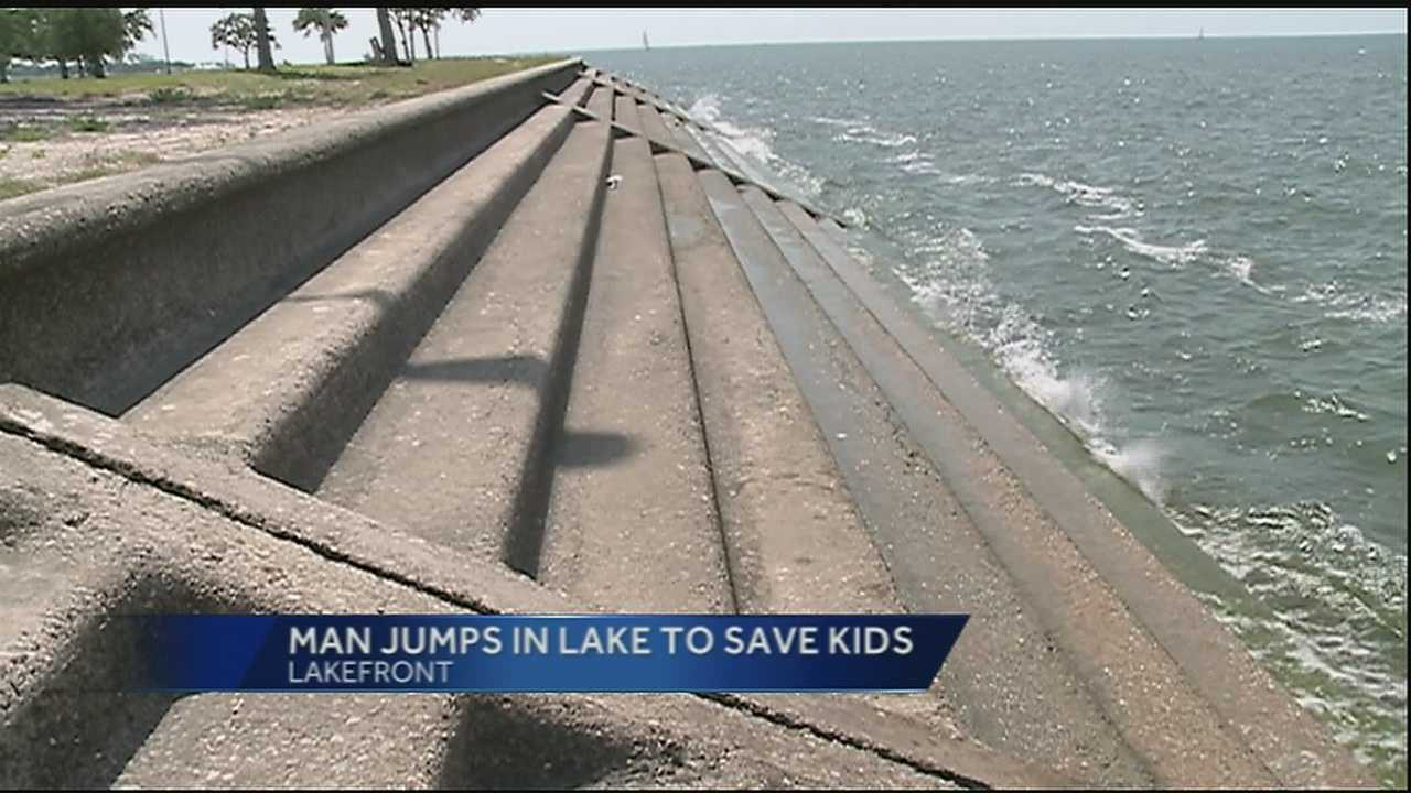 A father was taken to the hospital after he was critically injured when he jumped into Lake Pontchartrain to save his children.