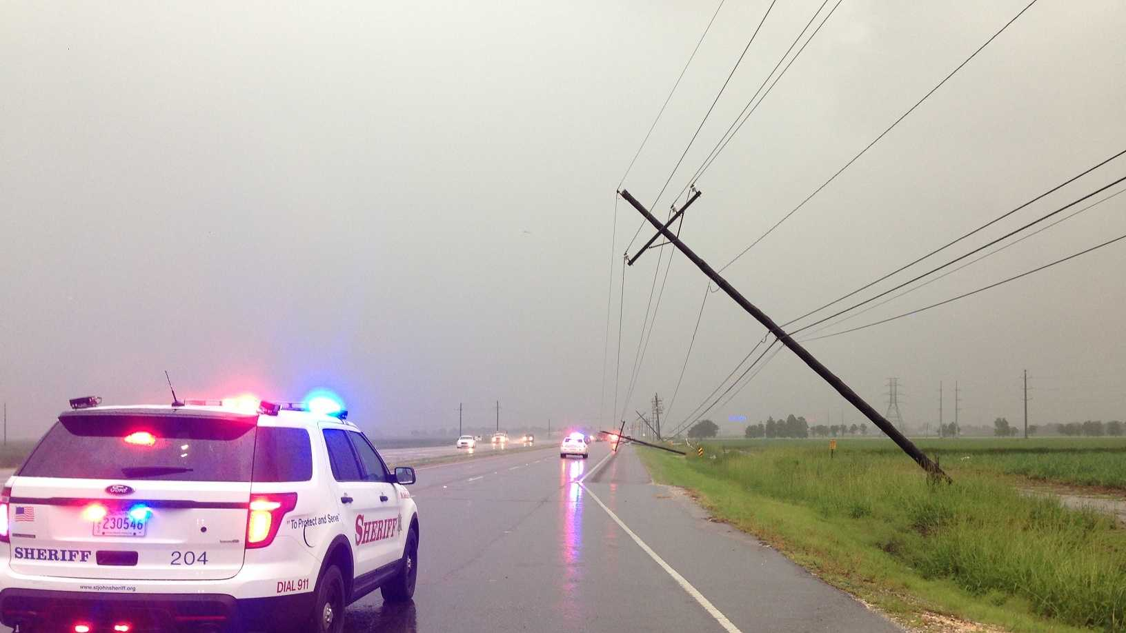 Power outages and wind damage were reported in St. John the Baptist Parish early Wednesday morning.