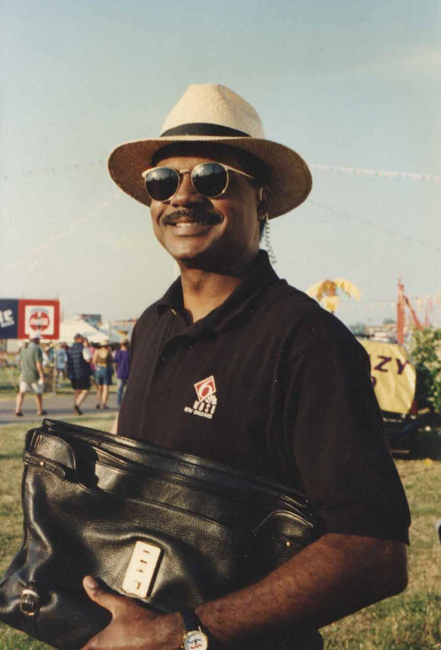 Early 1990s: Norman Robinson covering the New Orleans Jazz and Heritage Festival for WDSU.