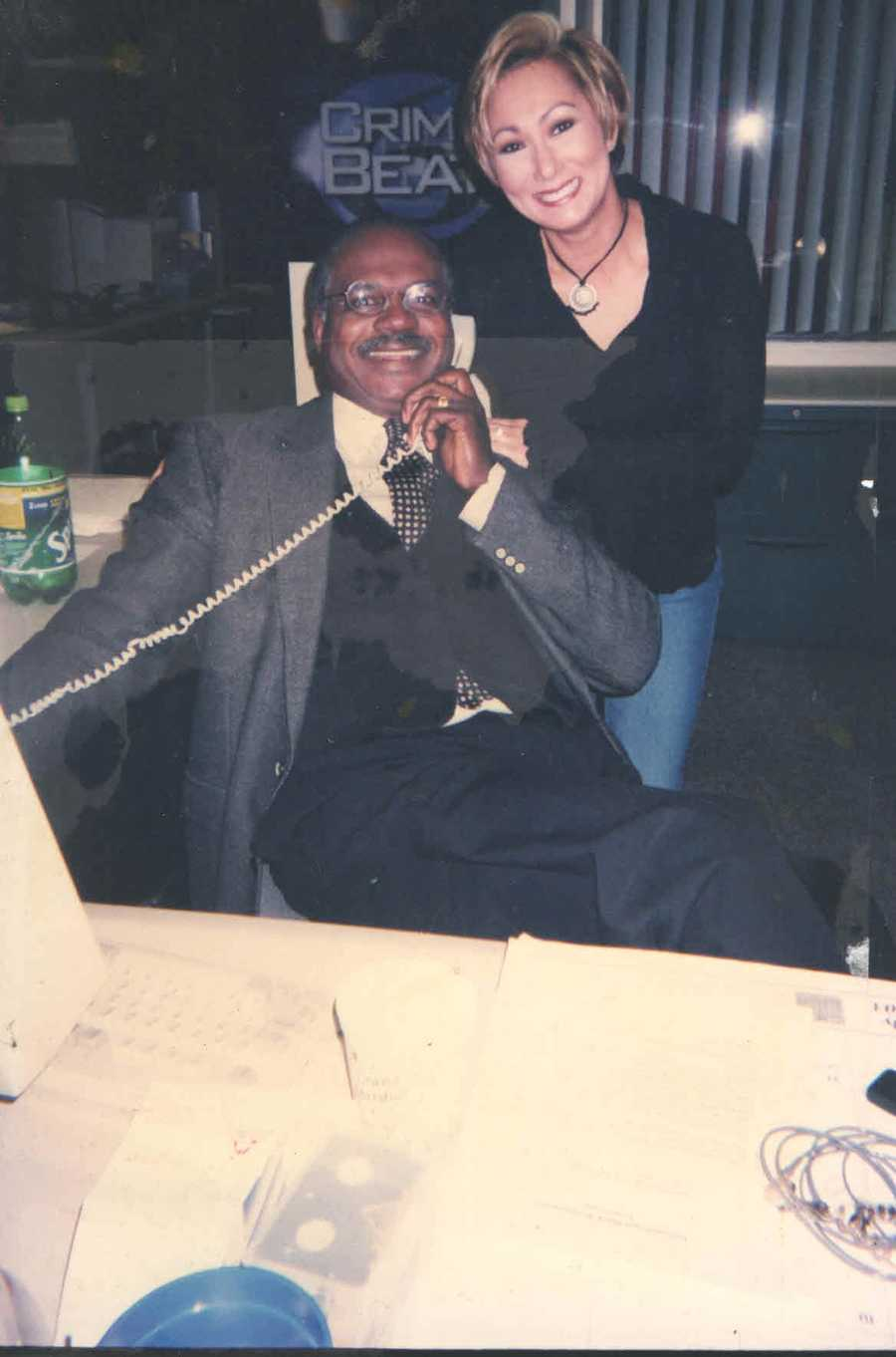 1996: Norman on the phone next to Kriss Fairbairn after WDSU-TV moved its studios to the Central Business District.