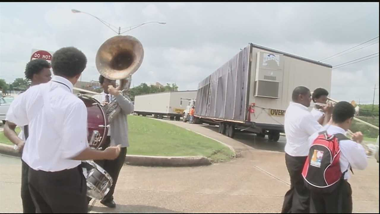 Southern University at New Orleans held a second line and celebration as the last of the FEMA trailers -- a remnant of Hurricane Katrina -- were removed from its campus.
