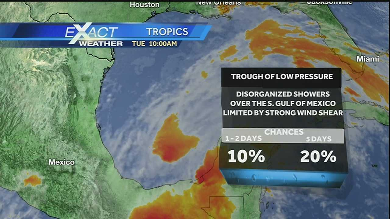 WDSU Exact Weather meteorologist Kweilyn Murphy explains what the area in the Gulf of Mexico, which has a 10 percent of tropical development, could mean for the Gulf Coast.