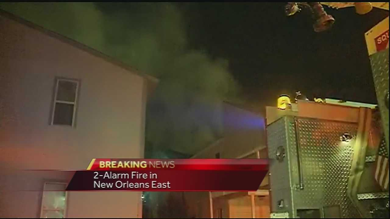 New Orleans firefighters battle a 2-alarm fire in New Orleans East Thursday morning.