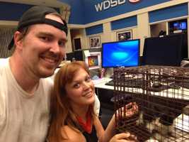 About 7 p.m., Digital Media Manager Clint Durrett and his girlfriend Amy Garrett baited the kitty with food in hand. Once the kitty investigated the food, Clint snatched the kitty and safely brought it inside the newsroom.
