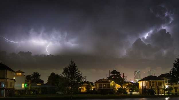 """Heat lightning"" in New Orleans. Captured by WDSU viewer  Kevin O'Mara (@komara)."