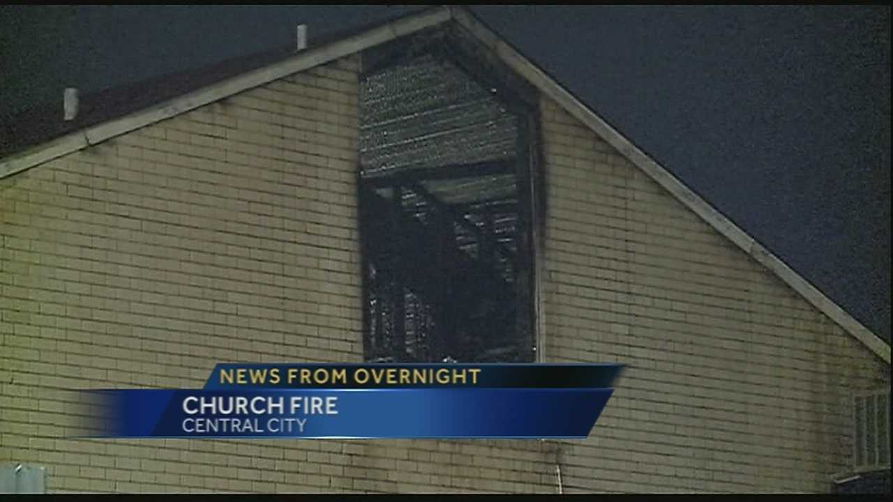 A Central City church is damaged in a Thursday morning fire.