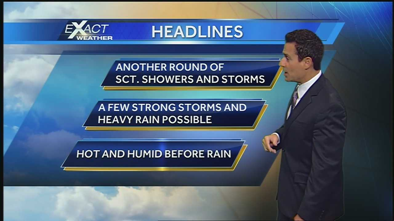 Abundant moisture and daytime heating will bring the chance for heavy downpours and gusty winds