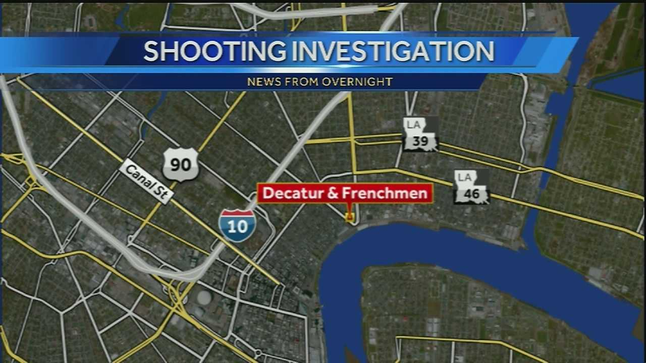 New Orleans police say a man was shot in the stomach just before 2 a.m. Wednesday near Decatur and Frenchmen streets.
