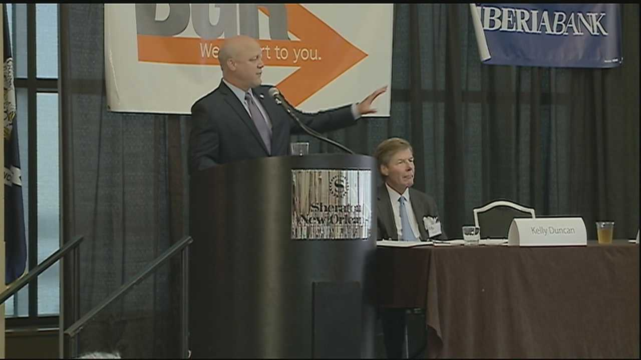 New Orleans Mayor Mitch Landrieu details solutions to fix the city's budget shortfall.