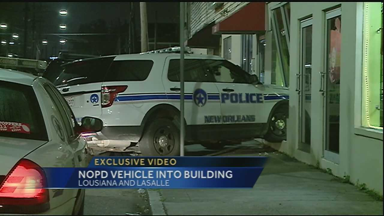 See exclusive video of an NOPD vehicle and the building it crashed into.