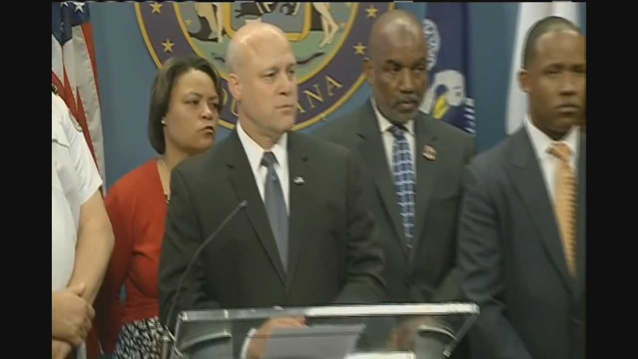 City leaders answer questions from reporters after a news conference was held Tuesday on the shooting on Bourbon Street.