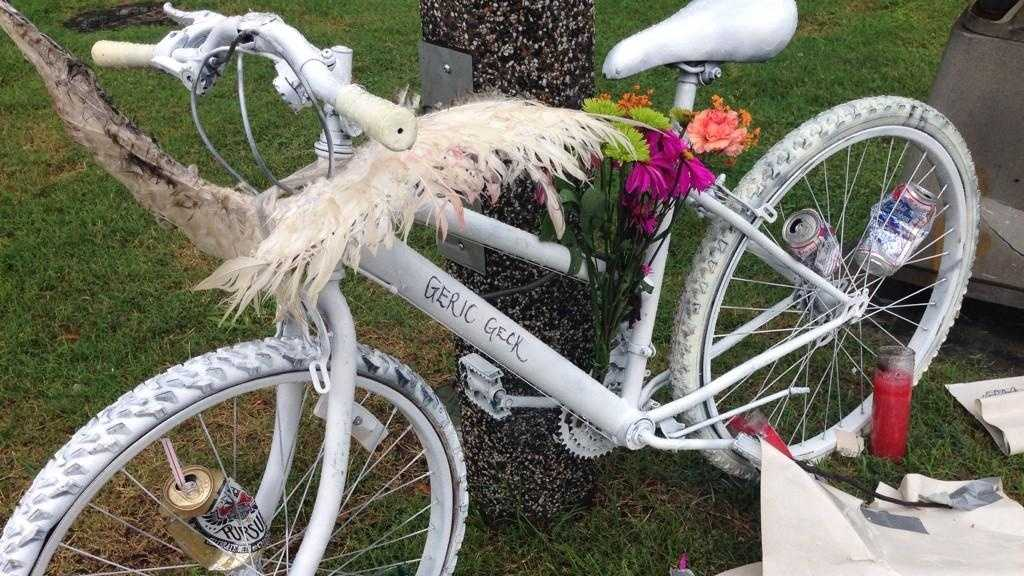A ghost bike was placed at the scene where a bicyclist was killed in a crash with an 18-wheeler on Thursday.