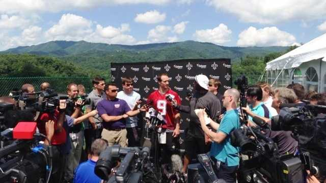 Drew Brees takes questions from the media during Saints training camp in West Virginia