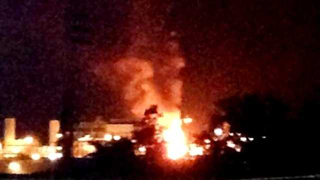 Flames shoot into the air from a diesel plant in Norco following an explosion