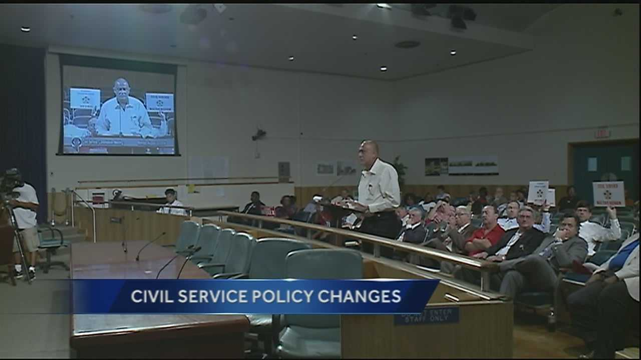 Officials with the City of New Orleans made changes to the civil service policy Monday morning that drew criticism from local firefighters and cops.