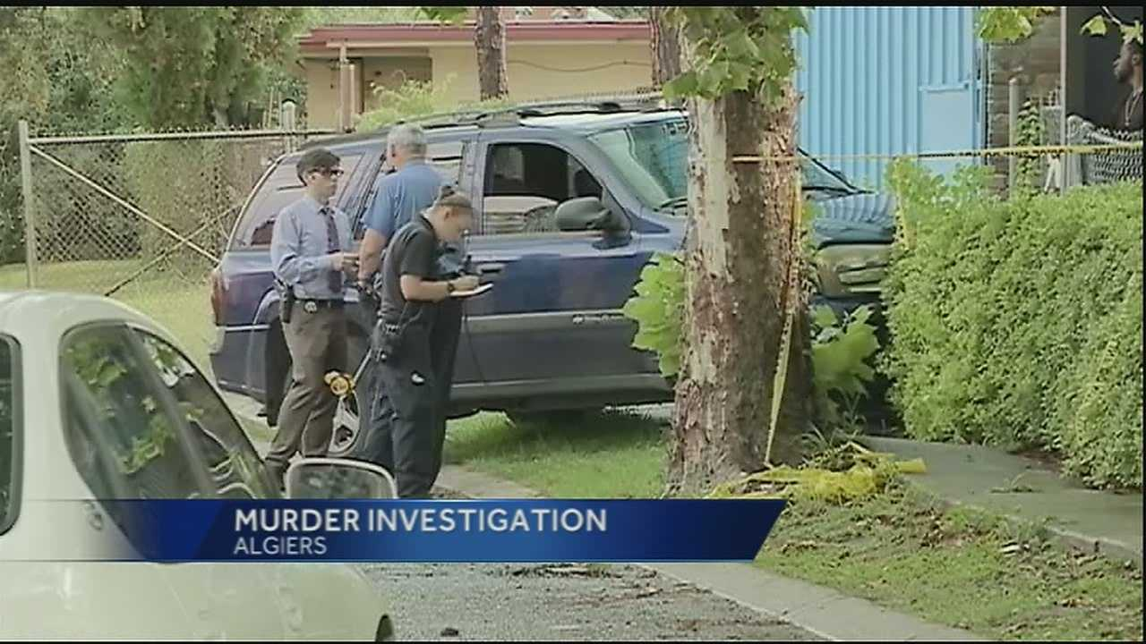 New Orleans police investigate a homicide in Algiers Thursday afternoon.