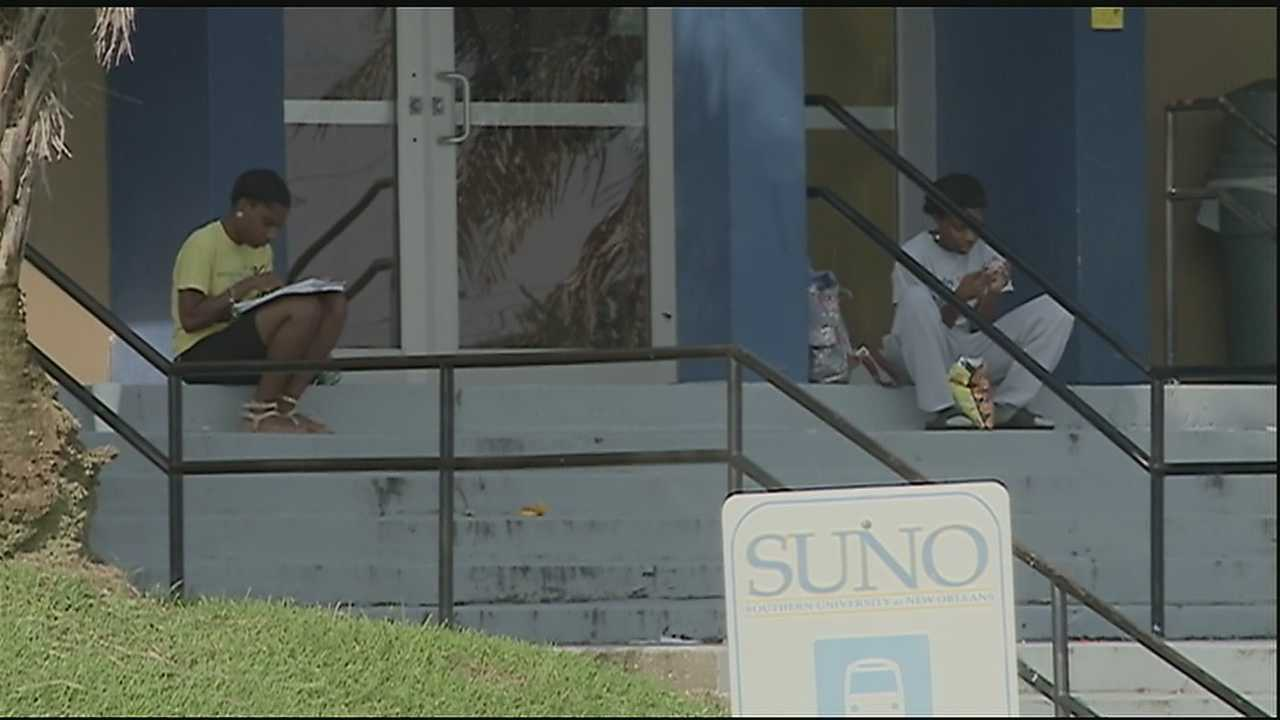 Students prepare for class at Southern University of New Orleans.