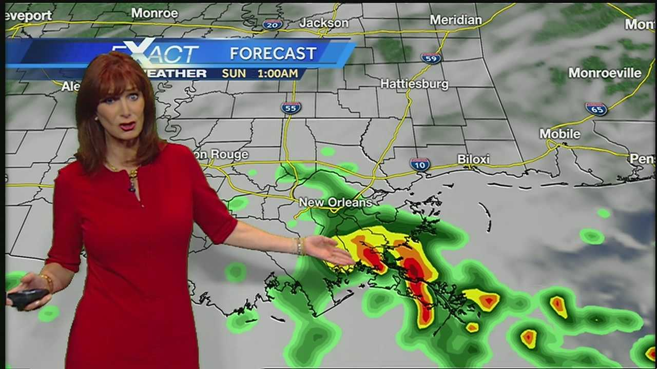 Rain chances begin to go up Saturday afternoon.  20% Northshore and 30-40% South Shore, but the best chance will be along the coast.  Going into Saturday night there is the potential for locally heavy rain especially for Plaquemines, St. Bernard, Lower Jefferson parishes and early Sunday along the Mississippi Coast.