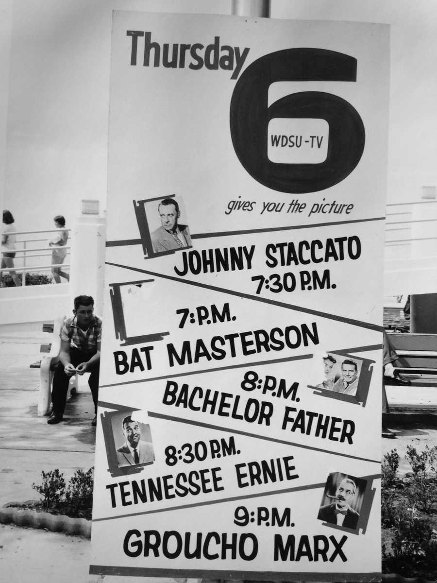 "14. What's on TV tonight? WDSU gives you the picture. ""Johnny Staccato,"" ""Bat masterson,"" ""Bachelor Father,"" ""Tennessee Ernie"" and (YES!) ""Groucho Marx!"""