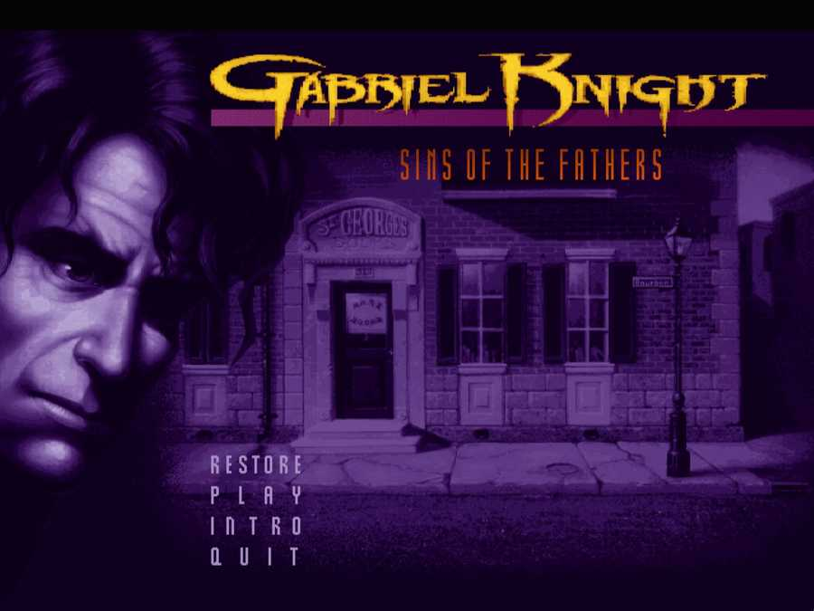 The original menu screen for Gabriel Knight: Sins of the Fathers.