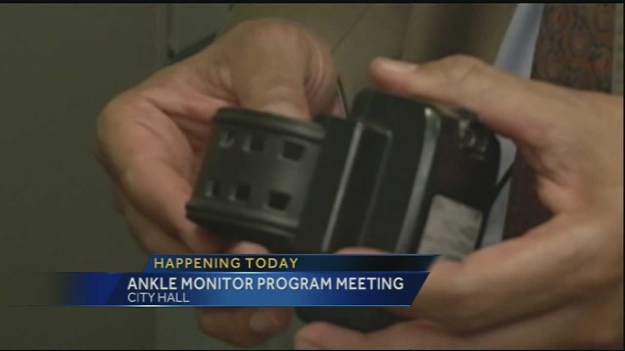 The ankle monitoring program is at the center of a meeting at city hall.
