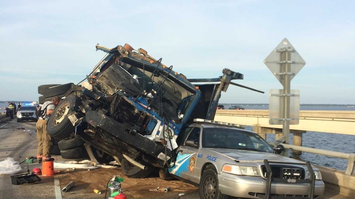 Causeway crash kills construction worker and shuts down bridge for several hours