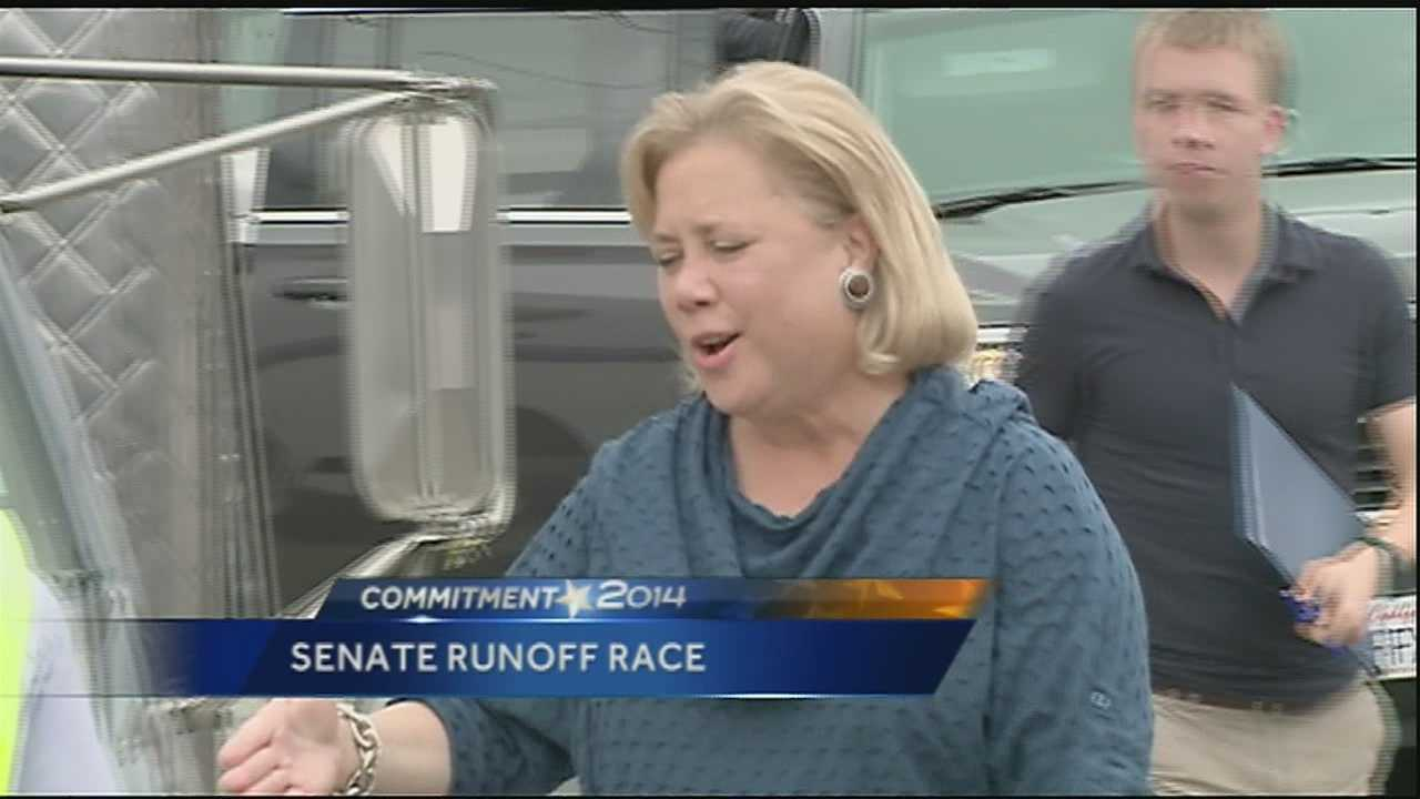 Democrat incumbent Sen. Mary Landrieu was back on the campaign trail after election results indicated she would head to a runoff against Republican Bill Cassidy.