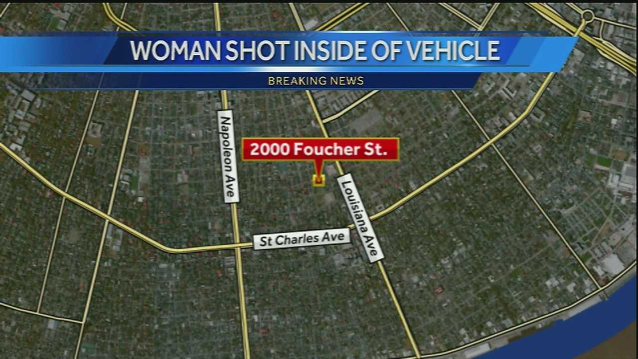 New Orleans police say around 3 a.m. Friday someone opened fire on a woman sitting in her car in the 2000 block of Foucher Street.