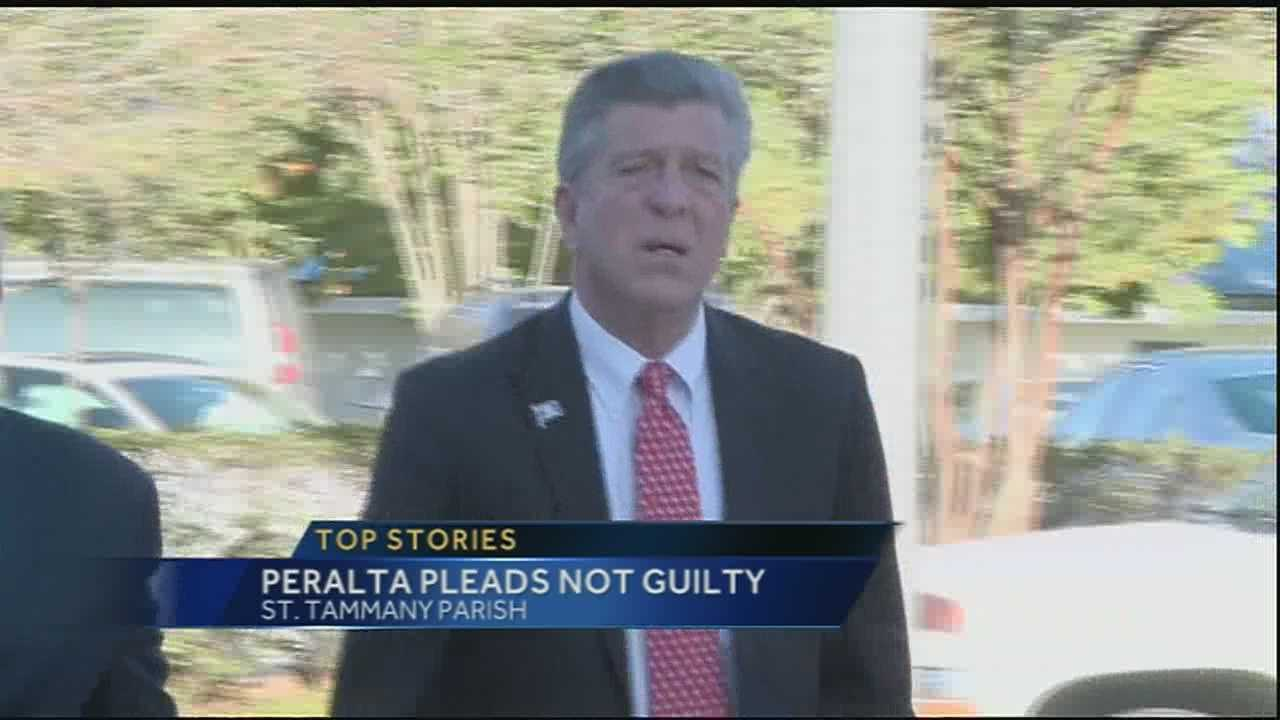 St. Bernard president Dave Peralta returned to court for an arraignment hearing on Monday.