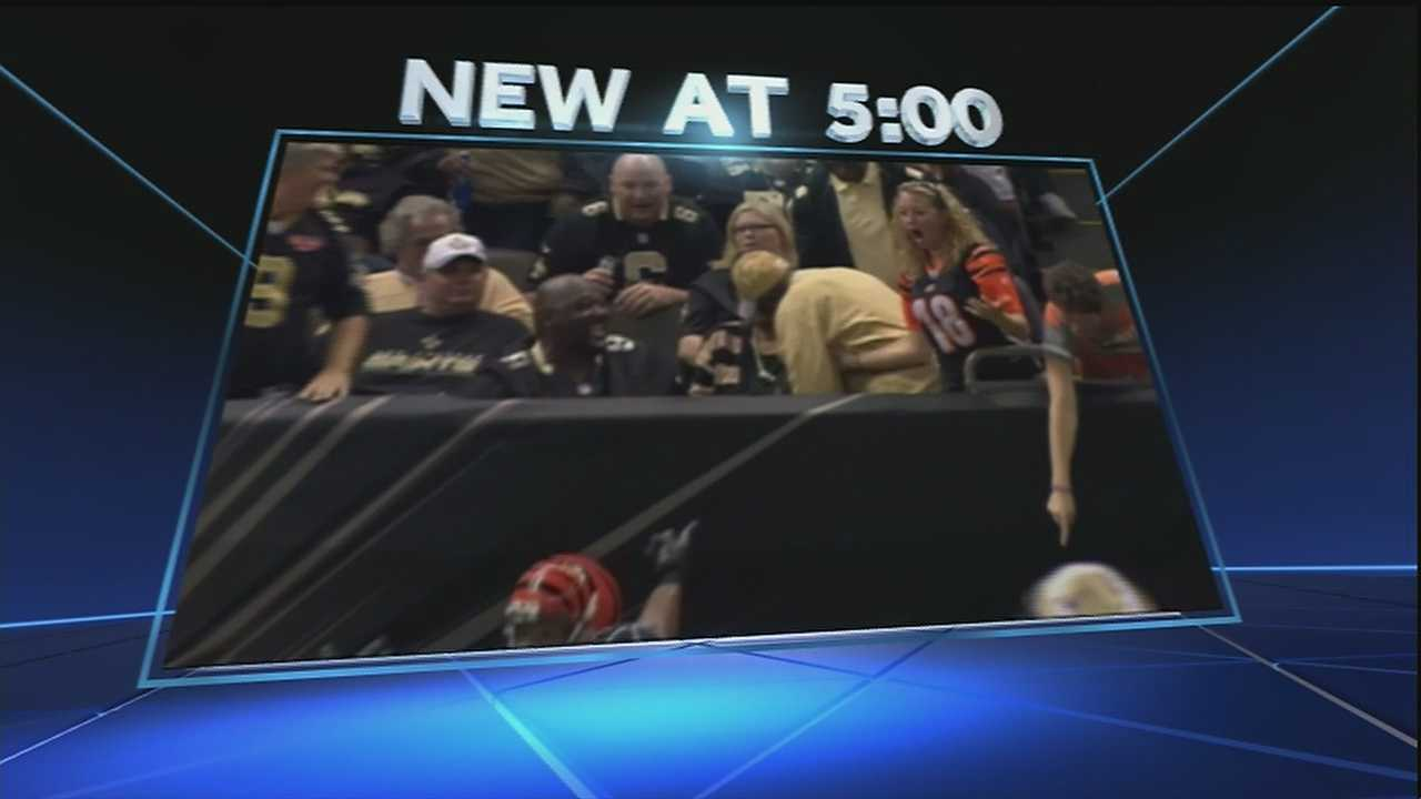 It was a big buzz during Sunday's game at the Superdome. A female Bengal's fan tried to catch a football when a Saints fan grabbed it away from her. The interception was caught on camera and the footage was shown and talked about on national TV.