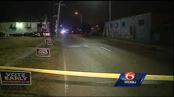 Crime scene of hit and run accident