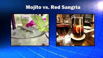 It's time for happy hour and you want something a little sweet. Mojitos appear light and refreshing, while red sangria contains chunks of fruit. Source: Health.com