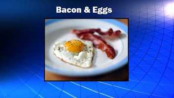 You'll probably save more than 300 calories by ordering some bacon and eggs. A stack of pancakes may round out at 830 calories. Source: Health.com