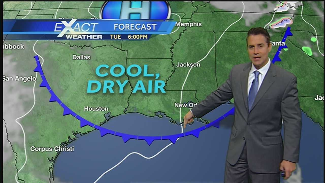 A passing cold front will bring another punch of cool, dry air.