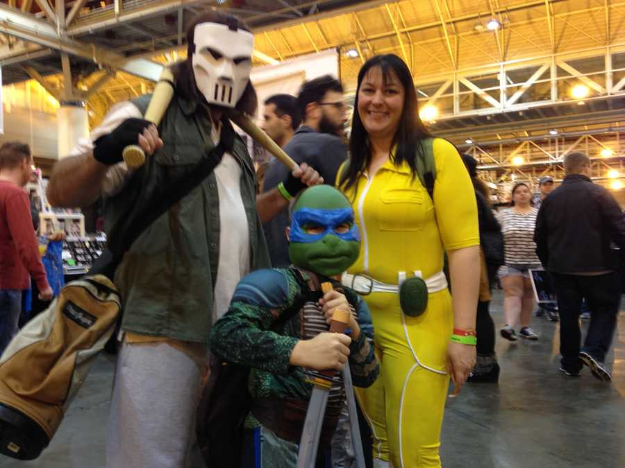"Casey Jones, April O""Neil and Leonardo from Teenage Mutant Ninja Turtles."