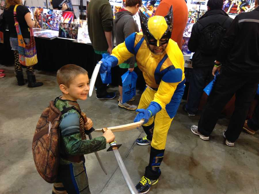 Wolverine and Leonardo spar.