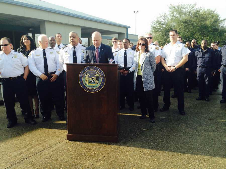 Mayor Mitch Landrieu and New Orleans Police Department Superintendent Michael Harrison introduced the 172nd recruit class during a ceremony Monday.