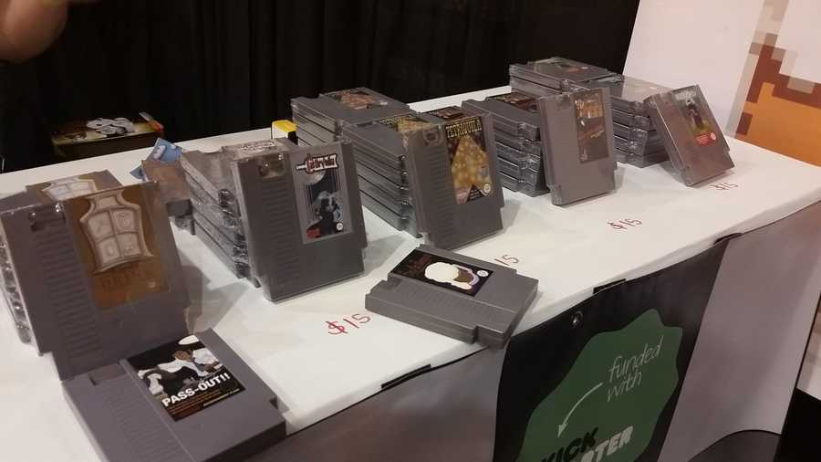 One of the vendors selling Nintendo cartridges as flasks.