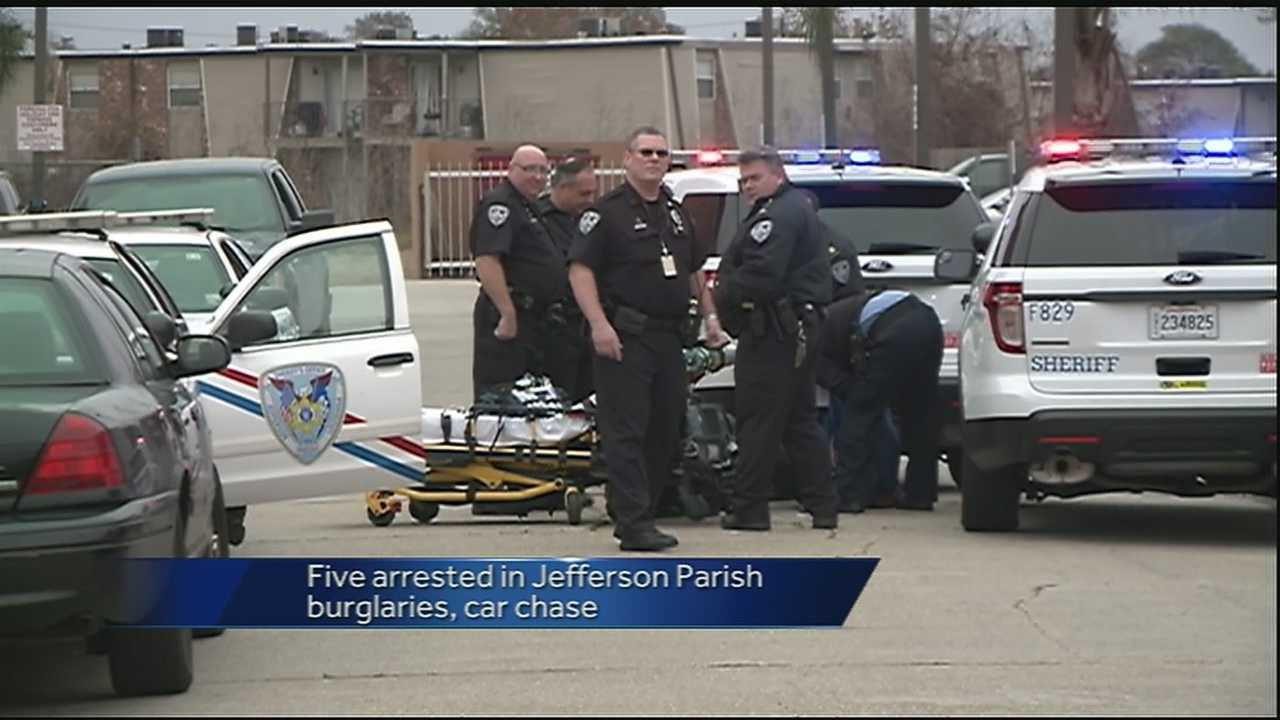 Jefferson Parish leaders say five people came to the area with criminal intentions. Now after a high speed chase that led to a crash, the suspects are behind bars.