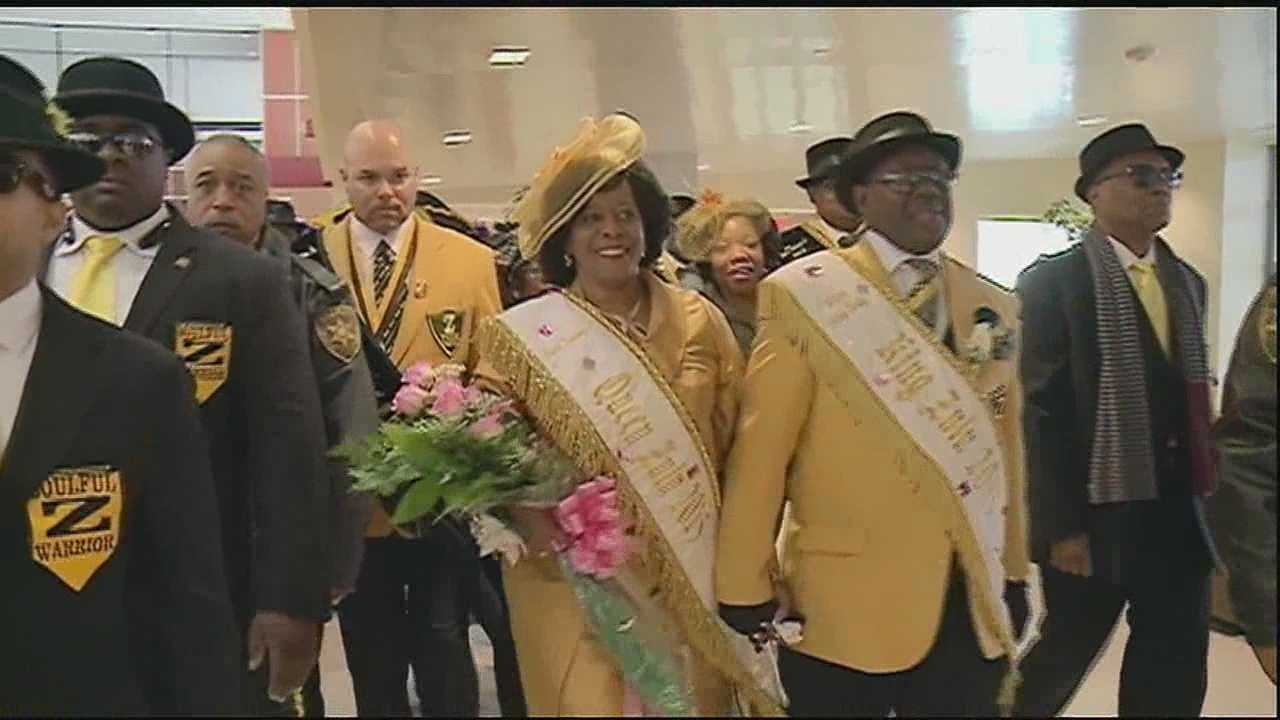 Champagne, flowers and a brass band at the Louis Armstrong New Orleans International Airport could only mean one thing: the arrival of the Queen of Zulu.