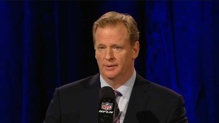 Roger Goodell addresses the media at a pre-Super Bowl news conference in Arizona.