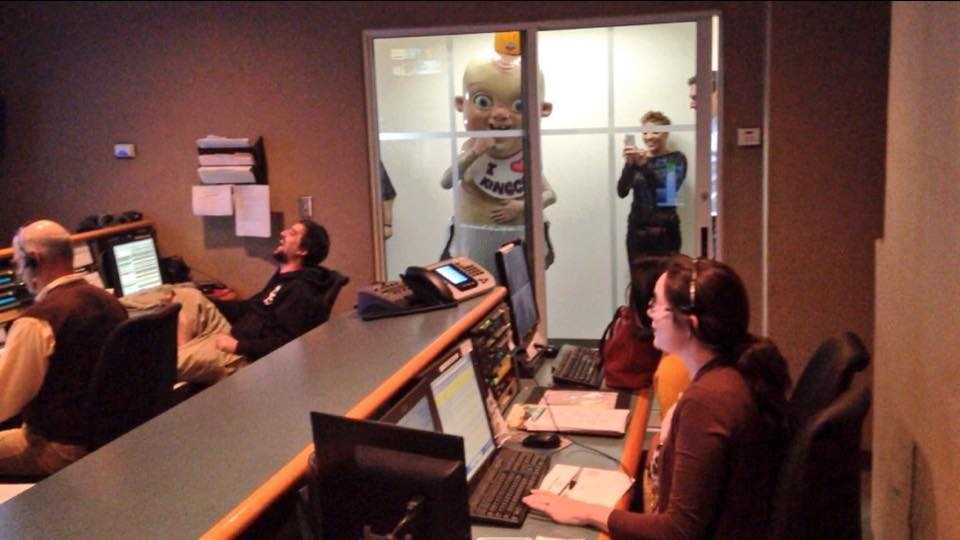 King Cake Baby makes the rounds to media outlets Tuesday, terrifying WDSU staffers.