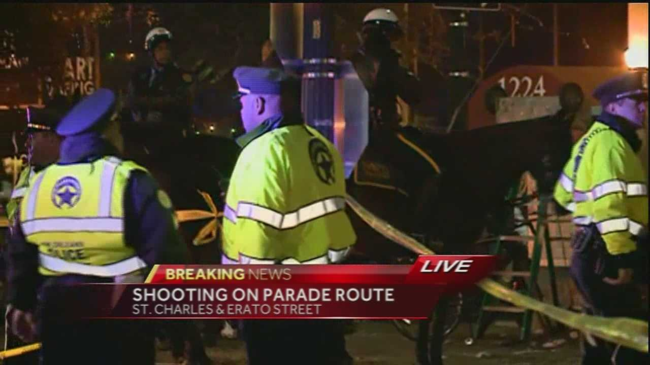 Two people were injured Thursday night in a double shooting on the Uptown parade route.