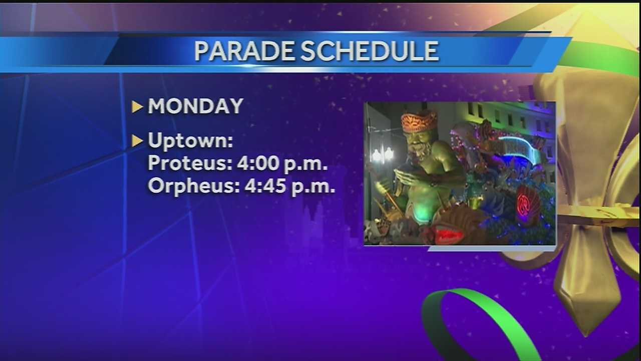 The city of New Orleans announced new start times for parades rolling through Uptown Monday evening.