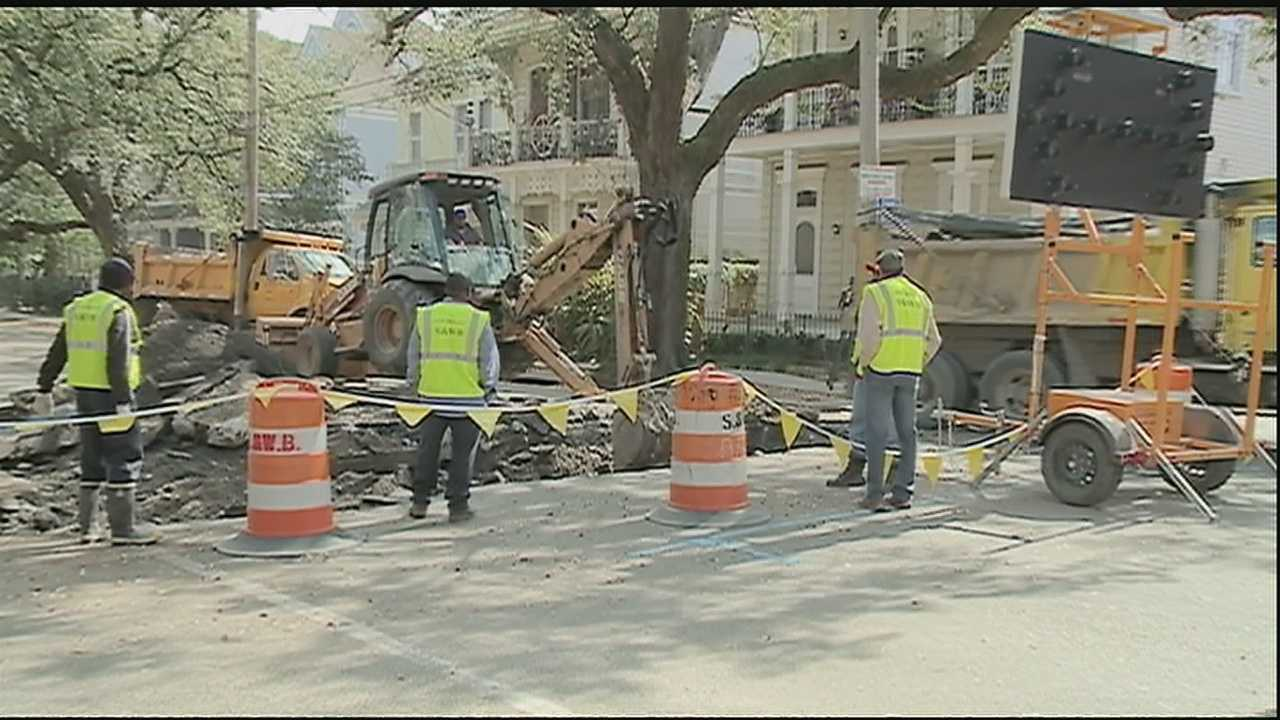 Crews with the New Orleans Sewerage and Water Board closed a section of Magazine Street for repairs for an undetermined amount of time.