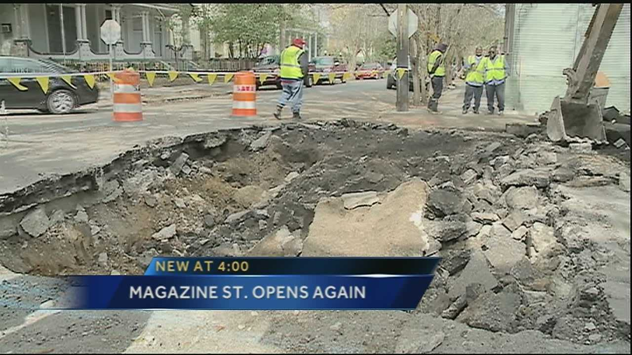 A portion of Magazine Street is back open after repairs to the underground infrastructure were completed this weekend.