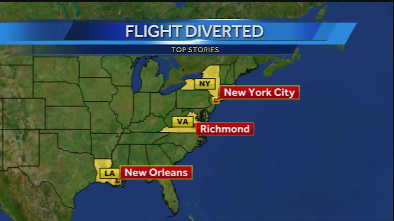 A New Orleans airplane bound for New York City was diverted Monday morning.