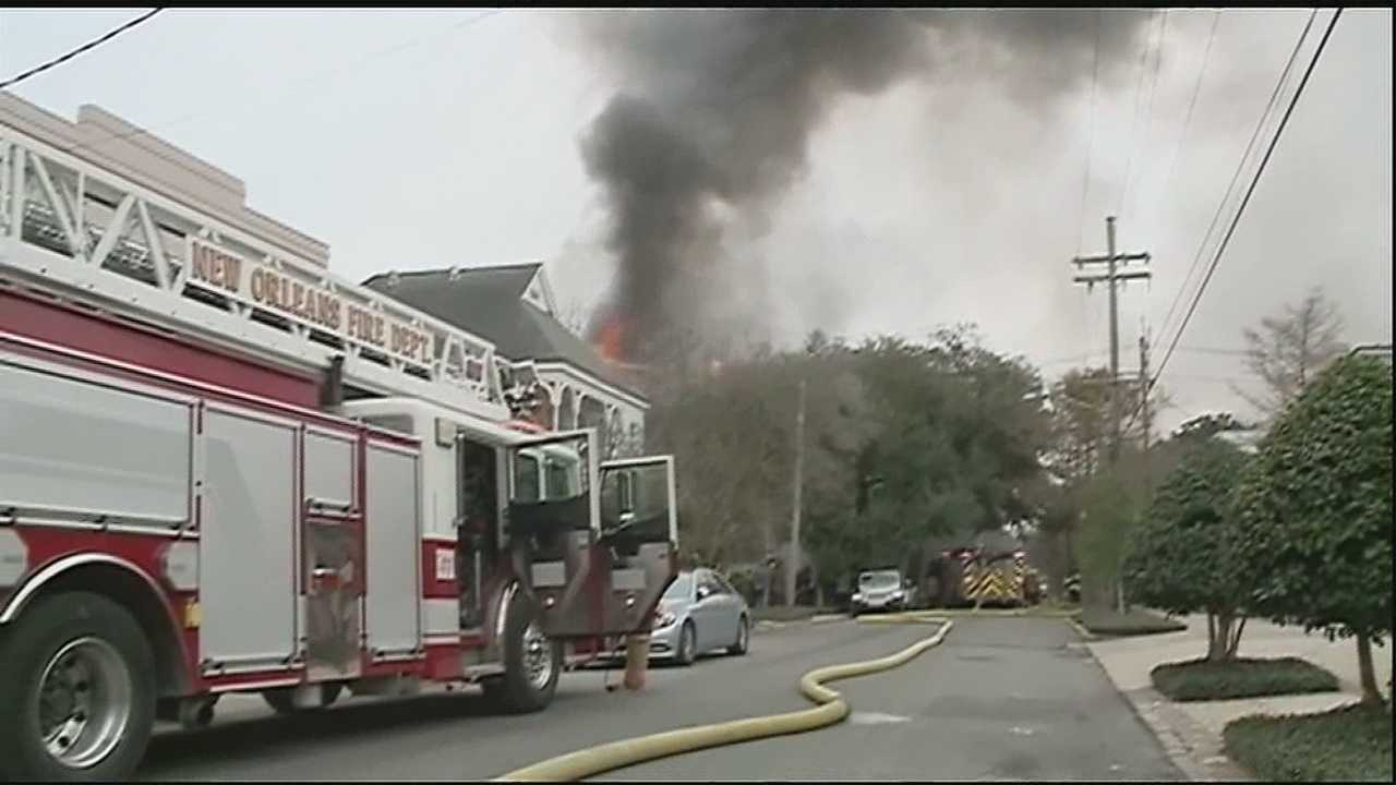 A four-alarm fire scorches a historic home in New Orleans.