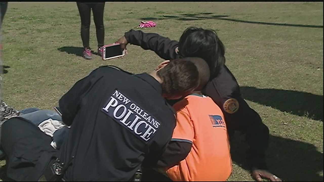 Several police officers spent the day with children in Central City.