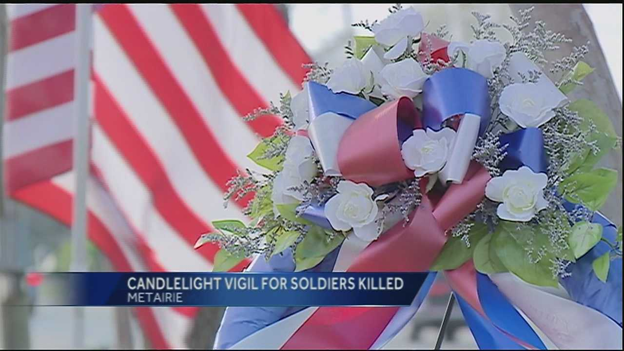 Friends and family gathered at the Veterans Memorial on Veterans Boulevard in Metairie  to remember four Louisiana National Guardsmen killed in a black hawk crash off the Florida coast.